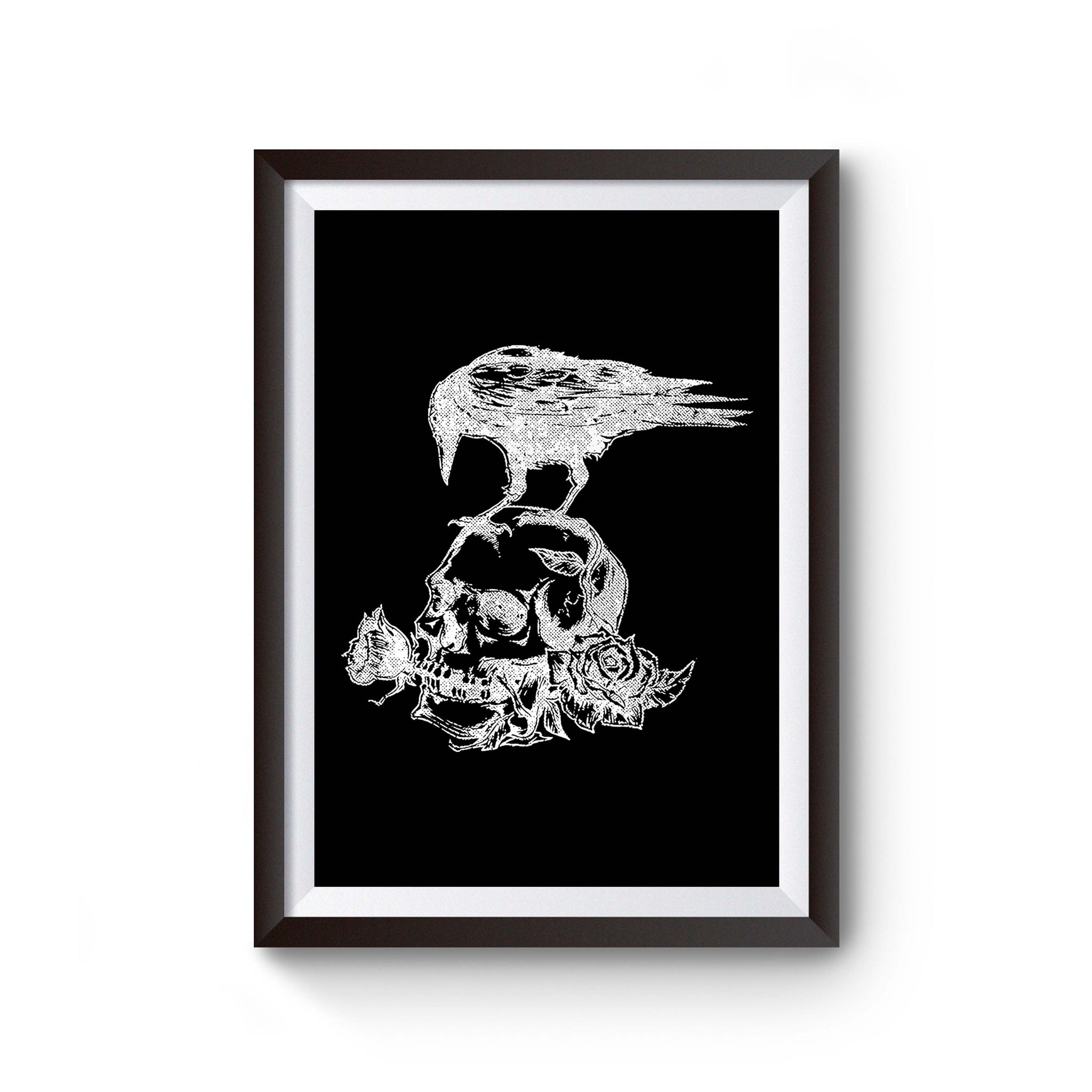 Skull Roses Crow Tattoo Poster