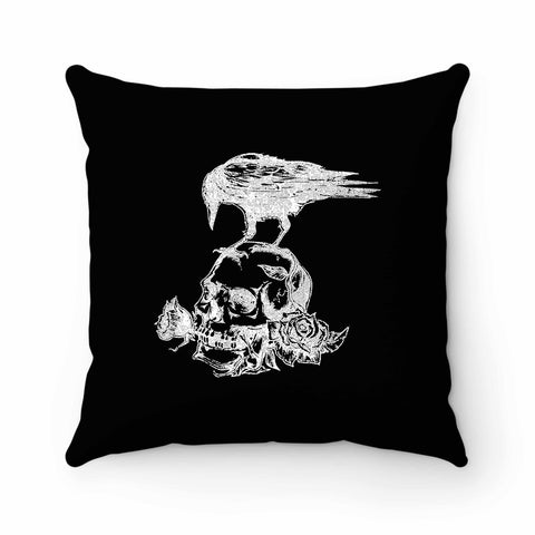 Skull Roses Crow Tattoo Pillow Case Cover