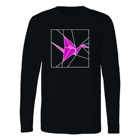 Stained Glass Pink Origami Long Sleeve T-Shirt
