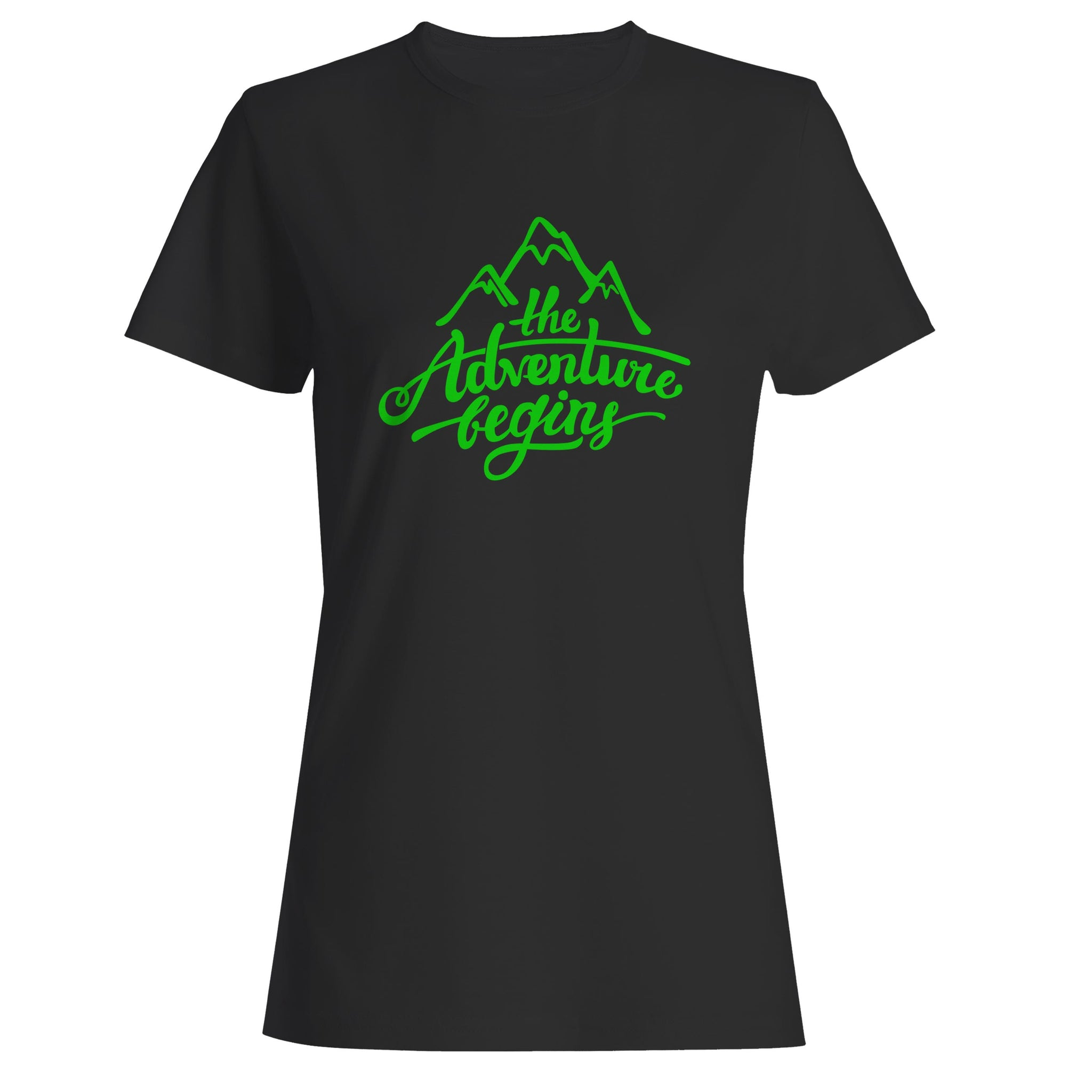 The Adventure Begins Mountain Woman's T-Shirt