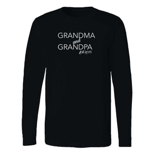 The Grandma & Grandpa Est 2015 Grandparent Gift Mother's Day Gift Grandma Grandpa Birth Announcement Long Sleeve T-Shirt