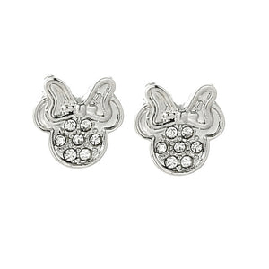 SILVER MICKEY AND MINNIE SPARKLING EARRINGS