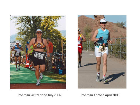 women finishing Ironman triathlon