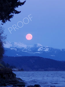 Pink Super Moon Setting Behind the Mountains
