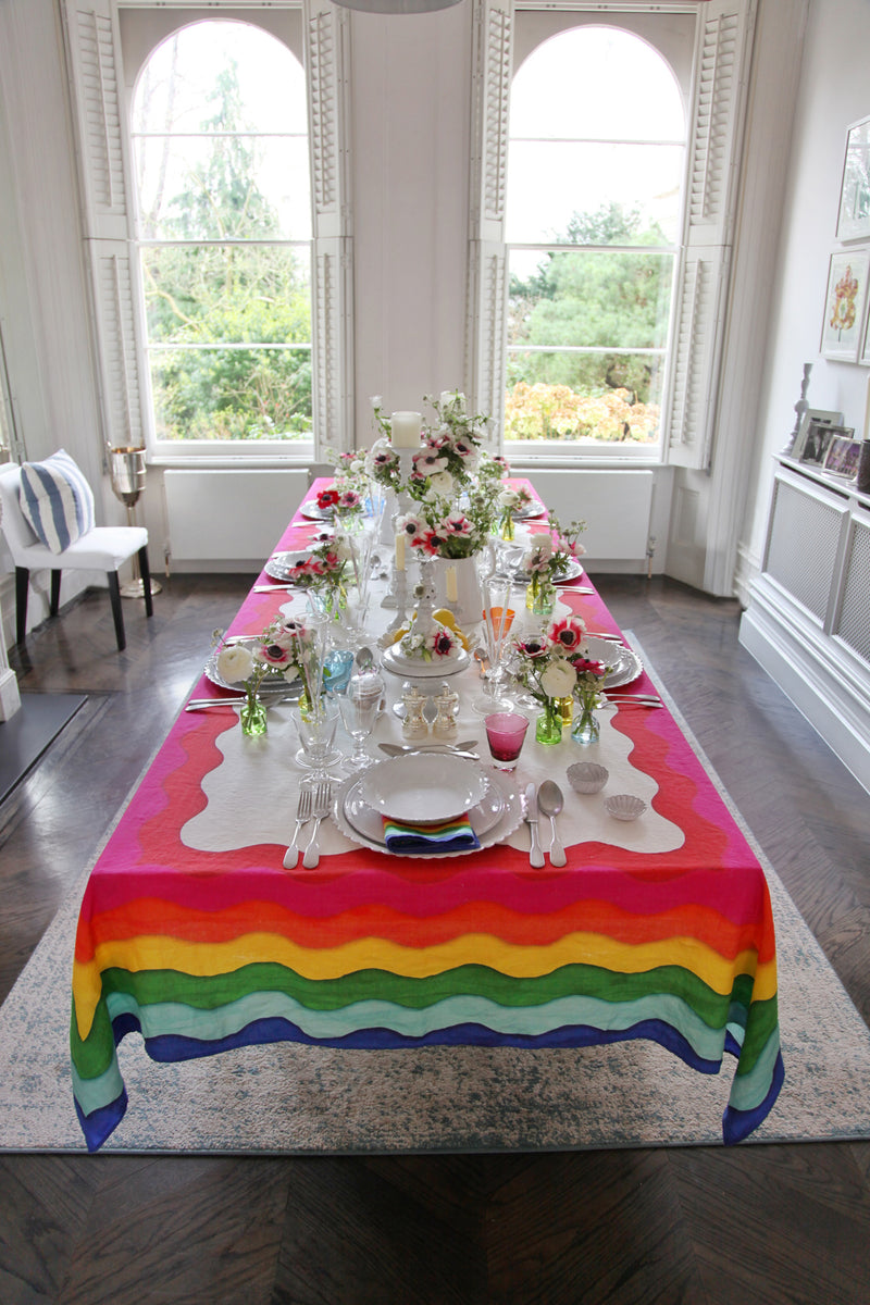 Rainbow Linen Tablecloth