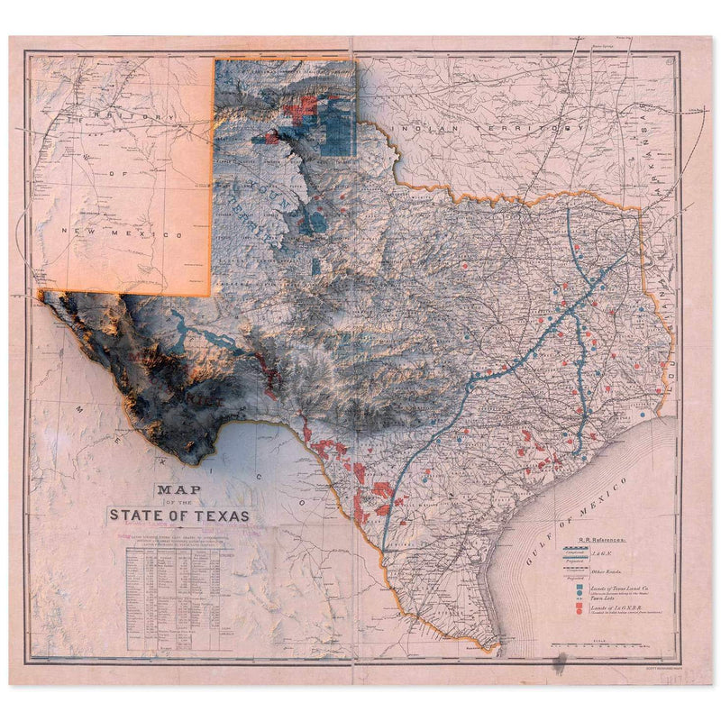 1887 State of Texas Map Print