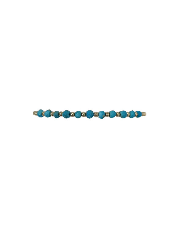 Gold Filled Ball Bracelet 2mm - Turquoise Pattern