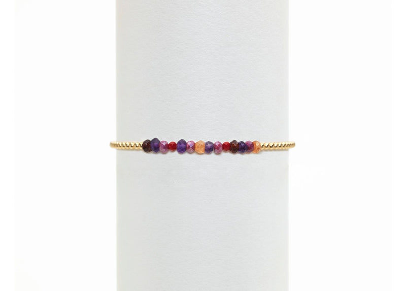Gold Filled Ball Bracelet 2mm with Gems - Pink & Purple