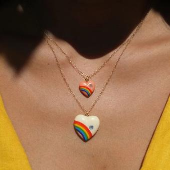 Rainbow Heart Necklace with Diamond - White