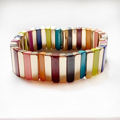 Rainbow Bar Color Tile Bracelet