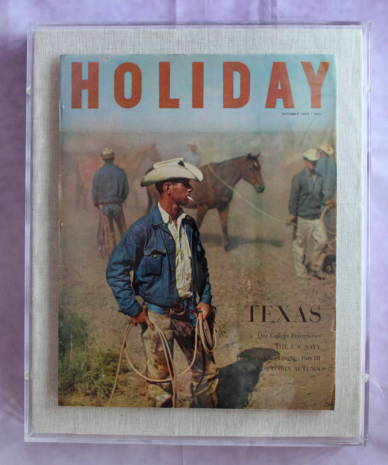 "Framed Holiday Magazine Cover - October 1968, ""Texas Cowboy"""