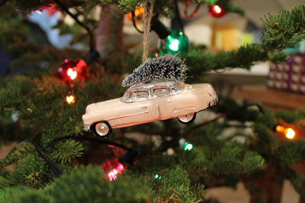 Pink Cadillac with Tree Ornament