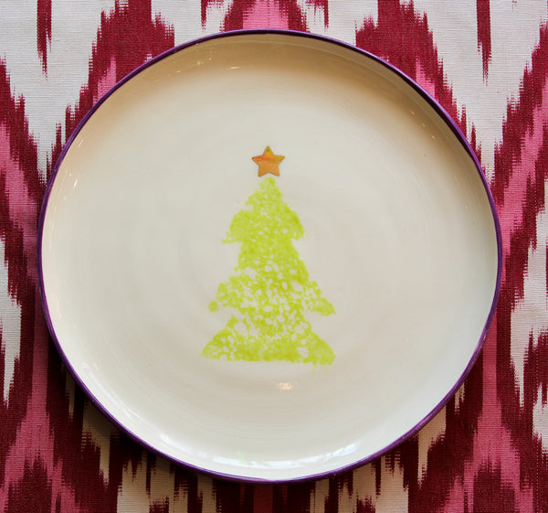 XMAS TREE PLATE - Purple Rim