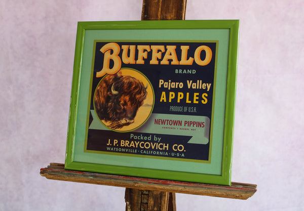 Framed Original Crate Label - Buffalo Brand