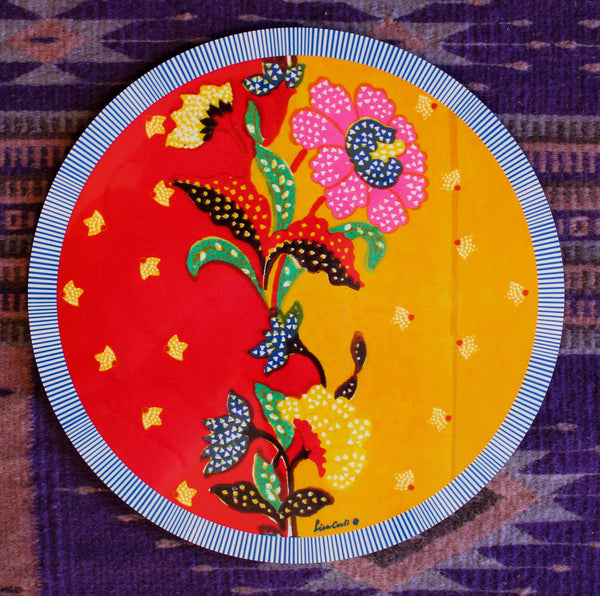 Indonesian Print Round Placemat - Red/Mustard