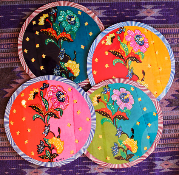 Indonesian Print Round Placemat - Chutney/Peacock