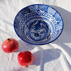 Large Hand Painted Bowl - Blue