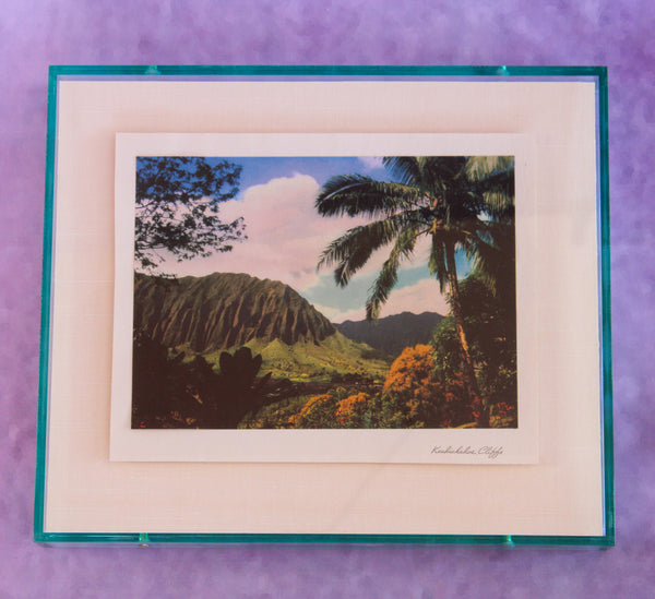 1950s Photo Print with Neon Lucite Frame - Hawaii Cliffs