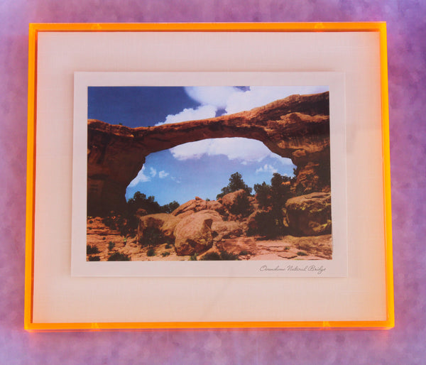 1950s Photo Print with Neon Lucite Frame - Natural Bridge
