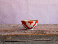 Vintage Uzbek Ikat Bowl Small Orange