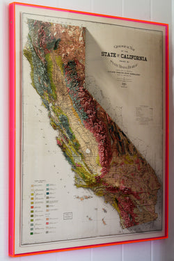 1916 State of California Geological Map in Neon Lucite Frame
