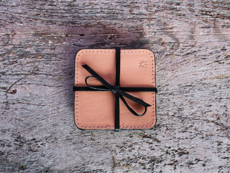 Cardoon Colored Leather Coasters Set of 4