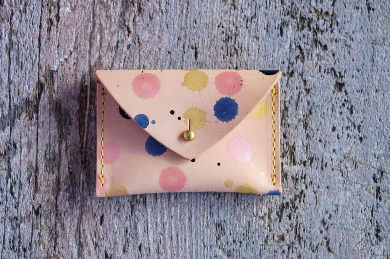 Leather Envelope Card Case - Splatter Paint