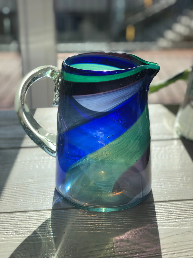 Recycled Glass Swirl Pitcher