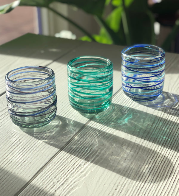 Criss Cross Recycled Glass Tumbler