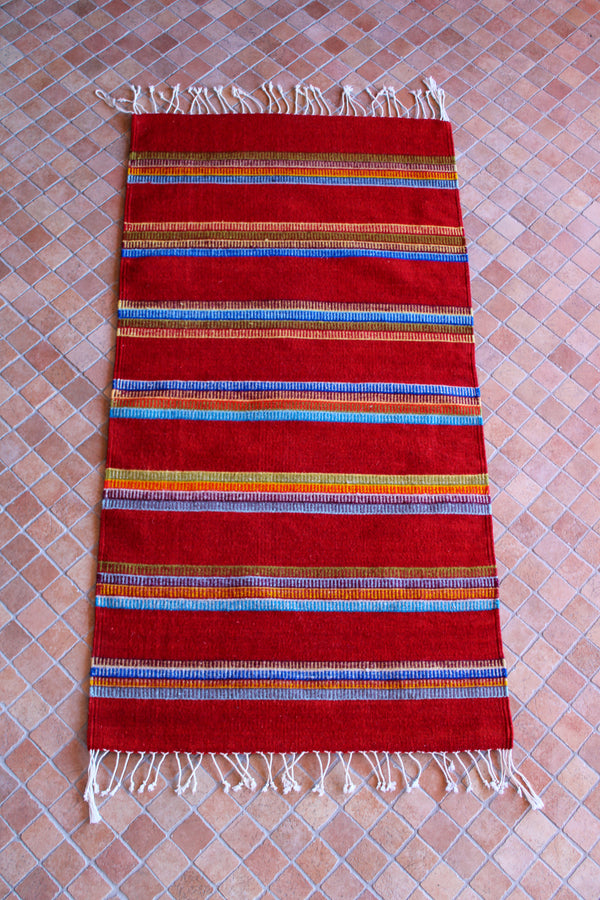 Zapotec Rug - Red Multi Stripe