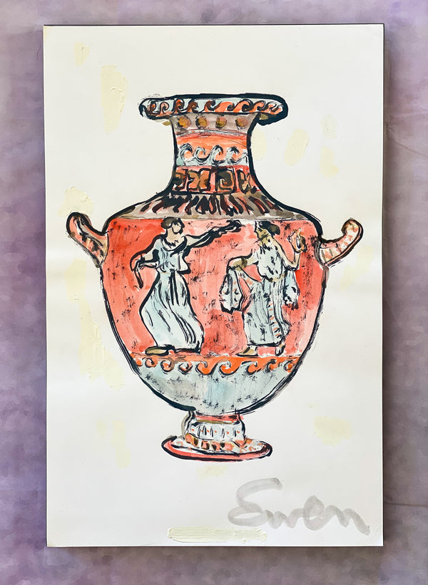 Grecian Urn in Red & Turquoise