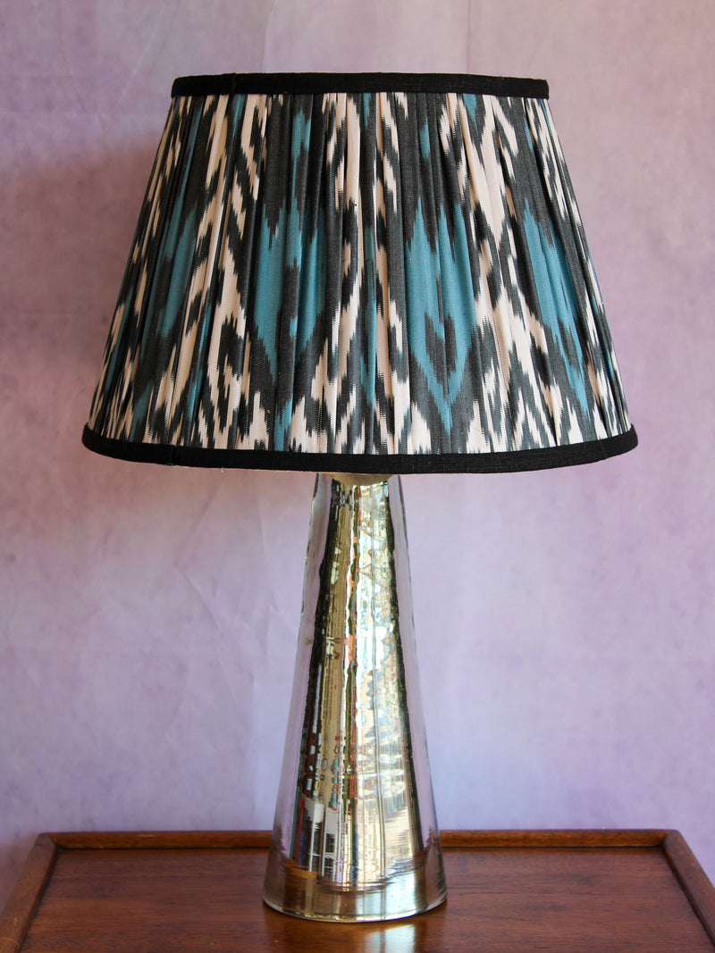 Charcoal Blue Ikat Lampshade with Black Trim