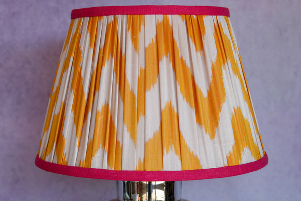 Sienna Silk Chevron Lampshade with Fuchsia Trim