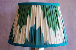 Peacock Waves Ikat Lampshade with Teal Trim
