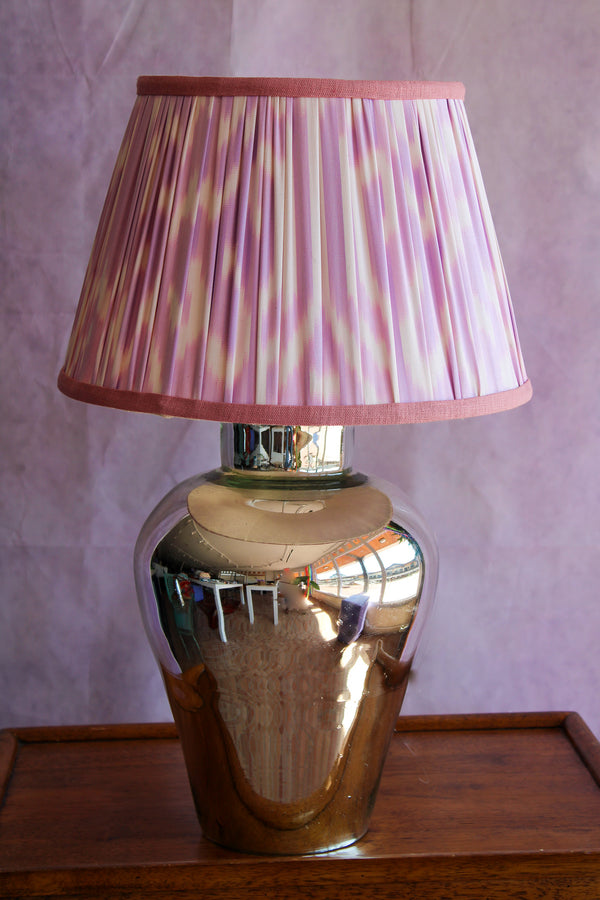 Lavender Silk Ikat Lampshade with Pale Pink Trim