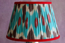 Turquoise & Red Silk Ikat Lampshade with Red Trim
