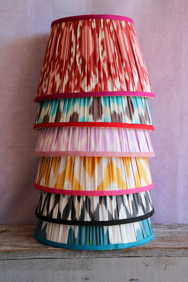Red Pomegranate Silk Ikat Lampshade with Magenta Trim
