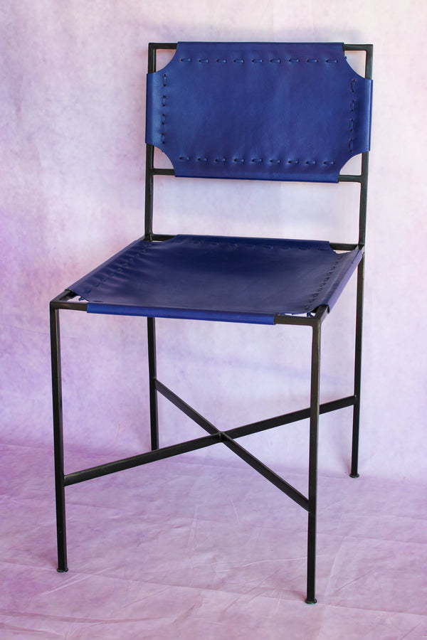 Leather Stitch Chair - Marjorelle Blue
