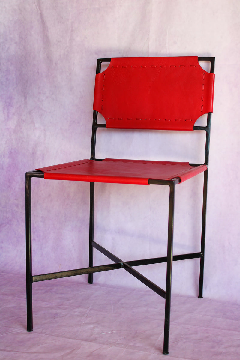 Leather Stitch Chair - Red