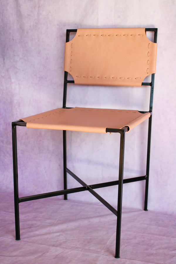 San Miguel Leather Stitch Chair Blush