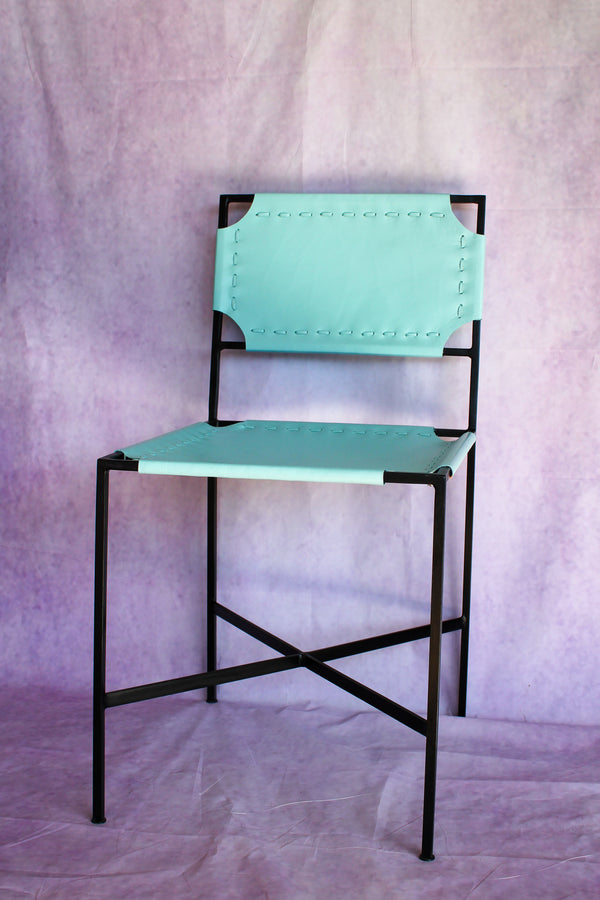 Leather Stitch Chair - Seafoam