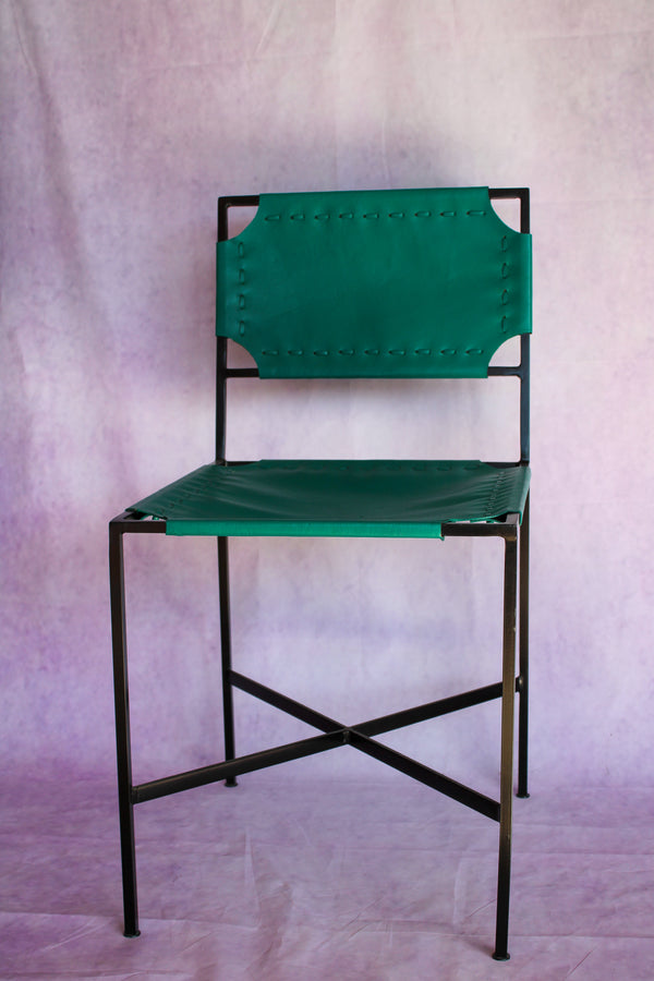 Leather Stitch Chair - Jungle Green