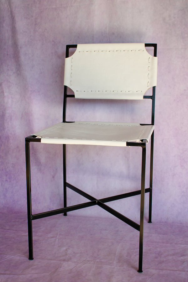 Leather Stitch Chair - Bright White