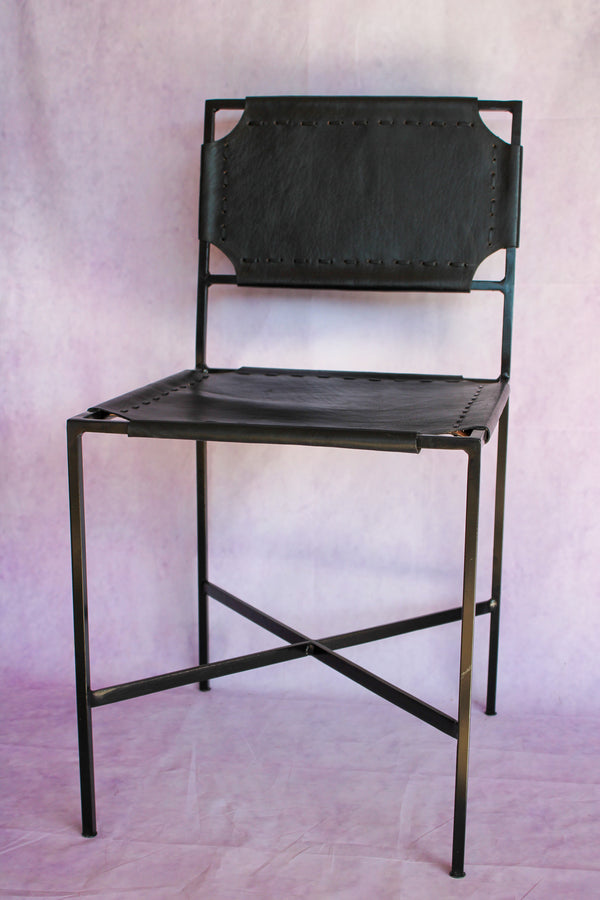 Leather Stitch Chair - Black