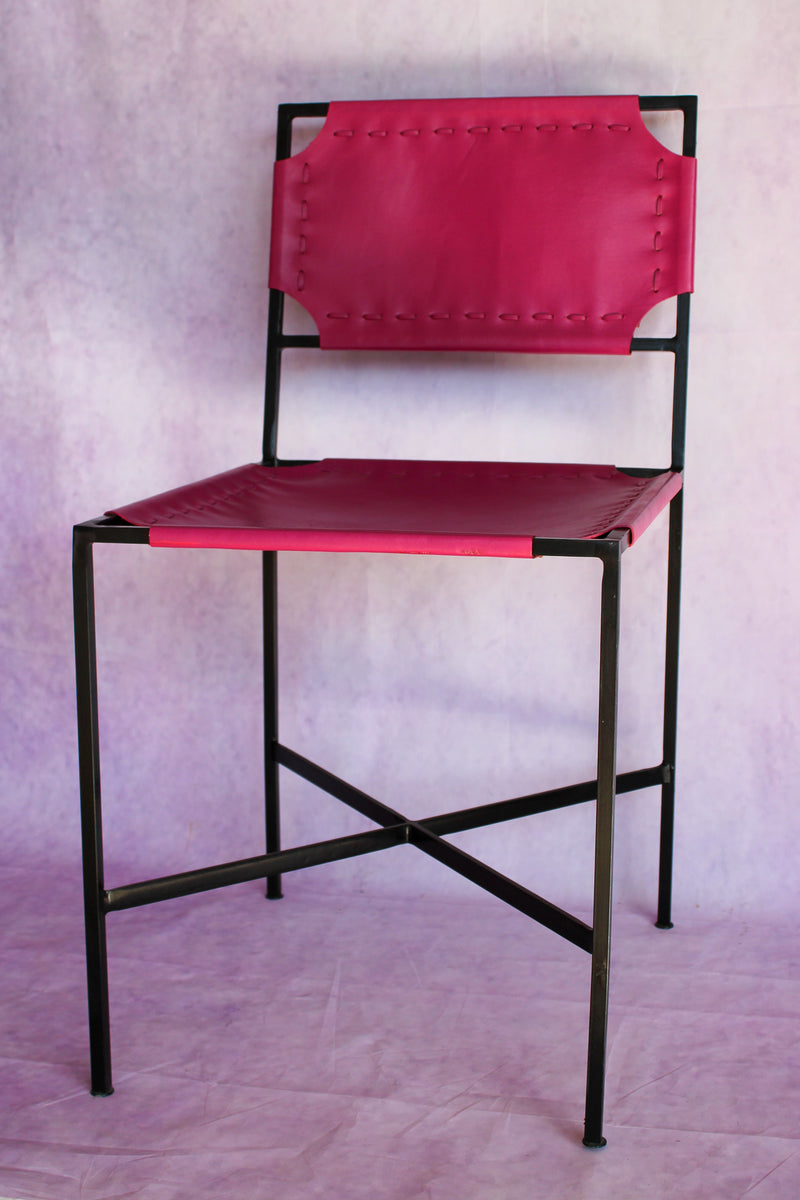 Leather Stitch Chair - Bougainvillea Pink