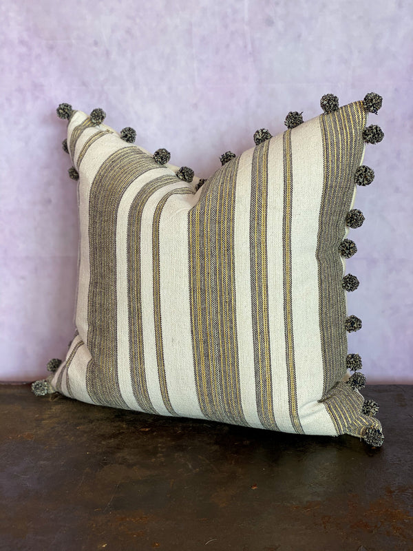Marrakech Stripe Pom Pom Pillow