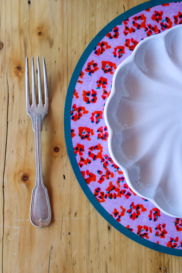 Leopard Flower Placemat - Red