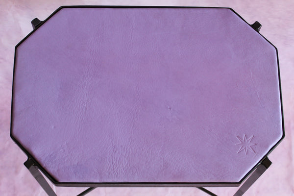 Octagon Leather Top Cocktail Table - Cardoon Purple