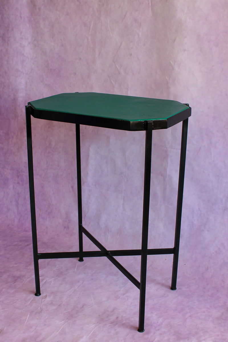 Octagon Leather Top Cocktail Table - Jungle Green