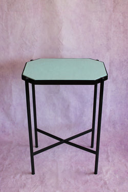 Octagon Leather Top Cocktail Table - Sea Foam